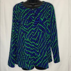Anne Klein abstract design roll tab sleeves top